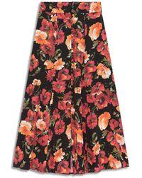 The Kooples Floral Print Silk Skirt - Multicolour