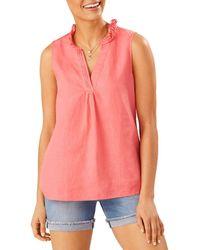 Tommy Bahama Coastalina Ruffle Neck Top - Pink