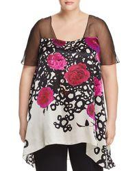Marina Rinaldi Fanny Floral-print Silk Top - Black