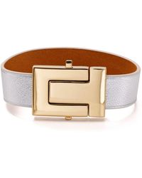 Tory Burch - T-logo Color-block Leather Bracelet - Lyst