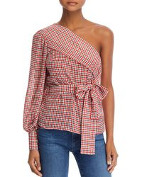 C/meo Collective Counting All One - Shoulder Plaid Top - Red