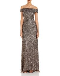 Adrianna Papell Off - The - Shoulder Sequined Gown - Multicolour