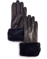 Echo Faux Fur - Cuff Leather Tech Gloves - Black