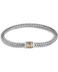 John Hardy - Sterling Silver Classic Chain Extra Small Bracelet With Mixed Mandarin Garnet - Lyst