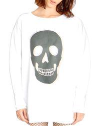 Wildfox Roadtrip Skull Sweatshirt - White