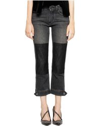 Zadig & Voltaire Eva Patchwork Cropped Jeans In Light Grey