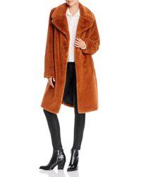 Aqua Wide - Lapel Faux - Fur Coat - Brown