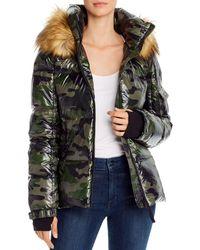 Aqua Faux Fur Trim Camo Puffer Jacket - Green