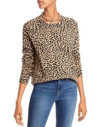Aqua Cashmere Leopard Print Cashmere Jumper - Multicolour