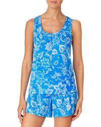 Ralph Lauren Lauren Cotton Knit Boxer Shorts Pajama Set - Blue