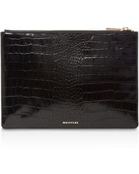 Whistles - Shiny Medium Croc-embossed Leather Clutch - Lyst