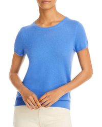 C By Bloomingdale's Short - Sleeve Cashmere Sweater - Blue