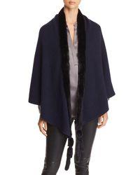 Max Mara Mink Fur-tassel Cashmere Wrap - Blue