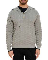 Robert Graham Bendigo Cotton Textured Classic Fit Henley Hoodie - Grey