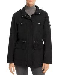 Vince Camuto Cinched Waist Raincoat - Black