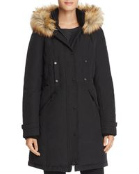 Vince Camuto - Side Belted Faux Fur Trim Anorak - Lyst
