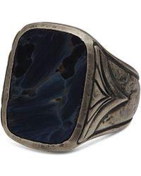 John Varvatos Sterling Silver Rectangle Pietersite Ring - Metallic