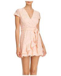 Aqua Lace Ruffled Faux - Wrap Dress - Pink