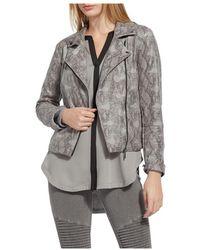 Lyssé Snakeskin Print Faux Leather Moto Jacket - Grey