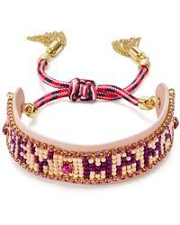 Rebecca Minkoff - Beaded Fringe Cuff Bracelet - Lyst