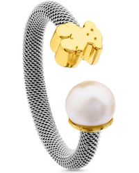 Tous - 18k Yellow Gold Bear Cultured Freshwater Pearl Ring - Lyst