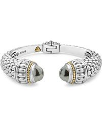 Lagos - Sterling Silver & 18k Yellow Gold Caviar Large Cuff Bracelet With Hematite - Lyst