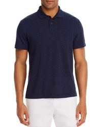 Bloomingdale's Linen - Blend Textured Stripe Classic Fit Polo Shirt - Blue