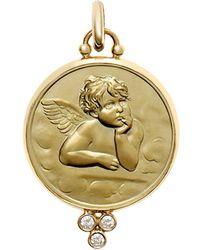 Temple St. Clair 18k Gold 16mm Angel Pendant With Diamonds - Metallic
