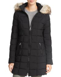 Laundry by Shelli Segal Faux Fur Trim Hooded Puffer Coat - Black