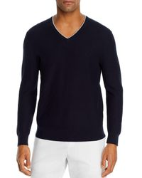 Bloomingdale's Cotton Tipped Textured Birdseye Classic Fit V - Neck Jumper - Blue