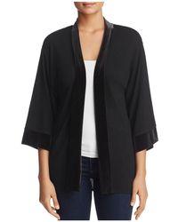 Avec - Velvet-trim Kimono Jacket - Lyst