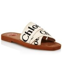 Chloé Woody Logo-print Canvas Sandals - White