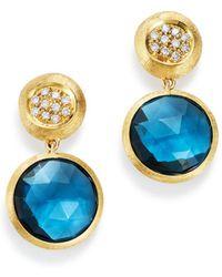 Marco Bicego - 18k Yellow Gold Jaipur Color Diamond & London Blue Topaz Drop Earrings - Lyst
