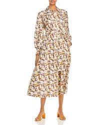 Tory Burch Long Shirt Dress In Floral Silk - Multicolour