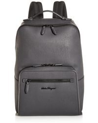 Ferragamo Revival Coated Leather Backpack - Gray
