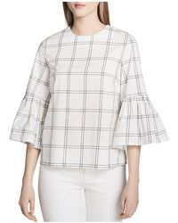 CALVIN KLEIN 205W39NYC - Cotton Plaid Bell-sleeve Top - Lyst