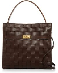 Tory Burch Lee Radziwill Woven Leather Double Bag - Brown