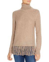 C By Bloomingdale's Fringe - Trim Cashmere Turtleneck Sweater - Multicolor