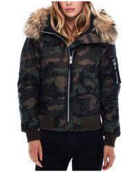 Sam. - Jenny Camo Fur Trim Puffer Bomber Jacket - Lyst