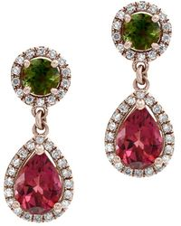 Bloomingdale's Multicolor Tourmaline & Diamond Drop Earrings In 14k Rose Gold