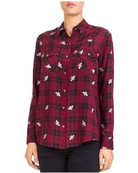 The Kooples - Bee Burgundy Embroidered Plaid Shirt - Lyst