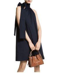 MICHAEL Michael Kors Halter Tie Neck Mini Dress - Blue