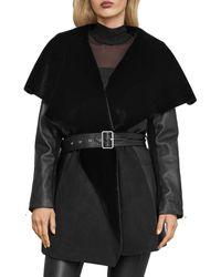 BCBGMAXAZRIA Faux Shearling Leather Jacket - Black