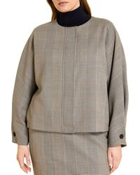 Marina Rinaldi Calesse Check Print Dolman Jacket - Brown