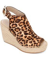 Kenneth Cole Olivia Leopard Print Wedge - Heel Sandals - Natural
