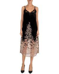 The Kooples Maxi, Slip, Velvet Dress With Lace Neckline And Burnout Floral Print On Skirt - Black