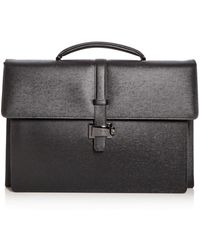 Montblanc Double Gusset Embossed Leather Briefcase - Gray