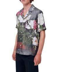 Soulland Orson Floral Print Camp Shirt - Green