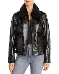 7 For All Mankind Faux Fur Trimmed Patent Leather Jacket - Black
