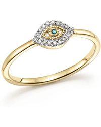Adina Reyter - 14k Yellow Gold Super Tiny Pavé White & Blue Diamond Evil Eye Ring - Lyst